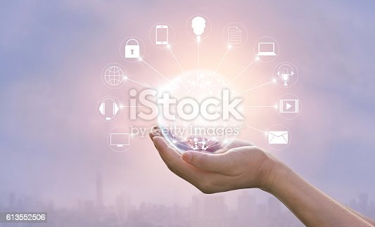 istock Hands holding circle global network connection, Omni Channel 613552506