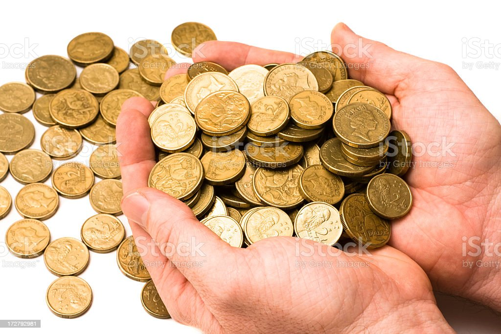 Hands holding coins royalty-free stock photo