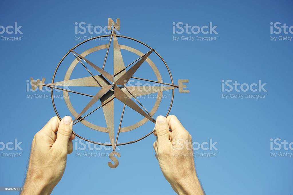 Hands Holding Compass Against Bright Blue Sky royalty-free stock photo