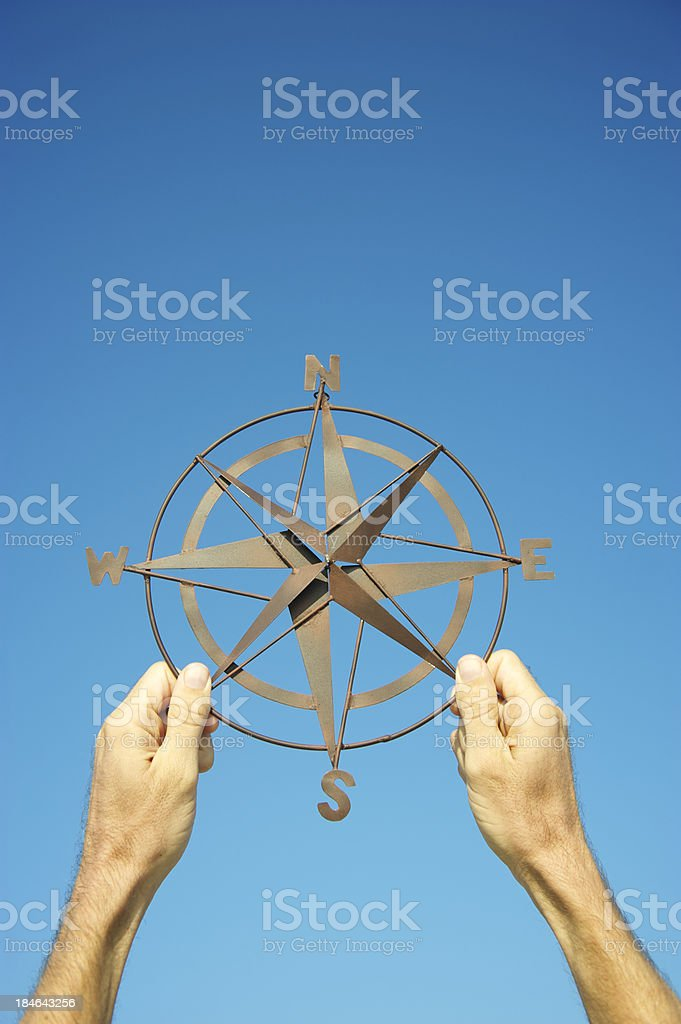 Hands Holding Compass Rose Against Bright Blue Sky royalty-free stock photo