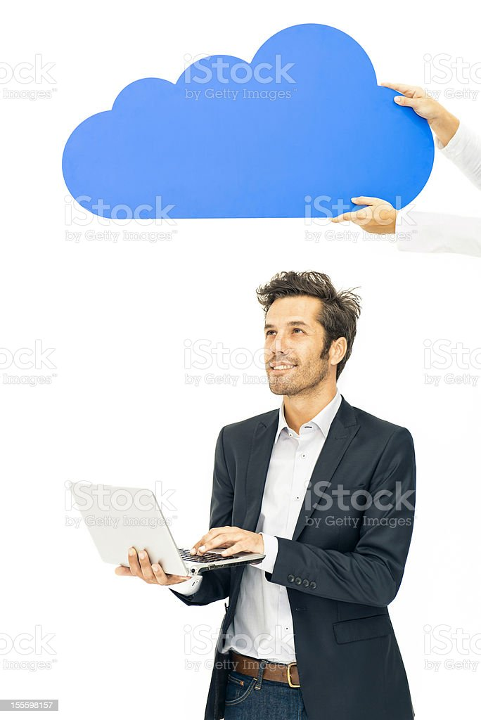 Hands holding coputing cloud over businessman royalty-free stock photo