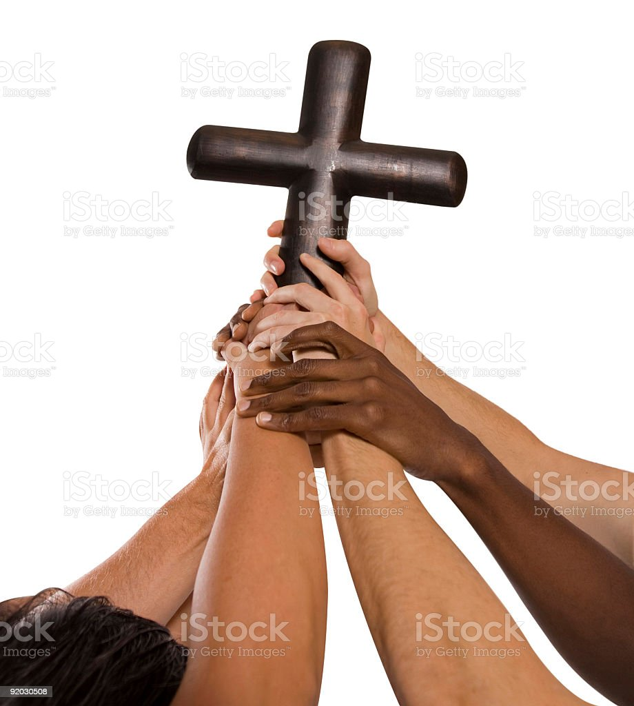 Hands holding cross royalty-free stock photo