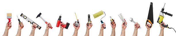13 hands holding different types of tools Hands raised holding different tools work tool stock pictures, royalty-free photos & images