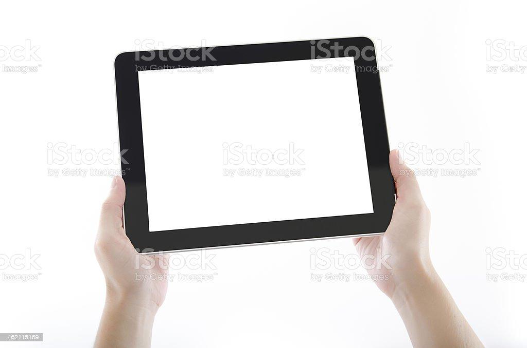 Hands Holding Digital Tablet Against White Background stock photo