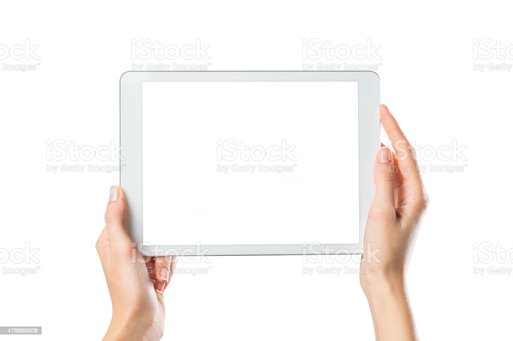 Hands holding digital tablet stock photo