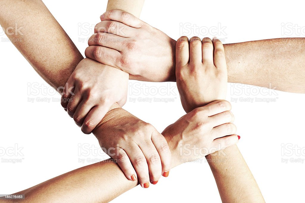 Hands Holding Each Other in a Circle royalty-free stock photo