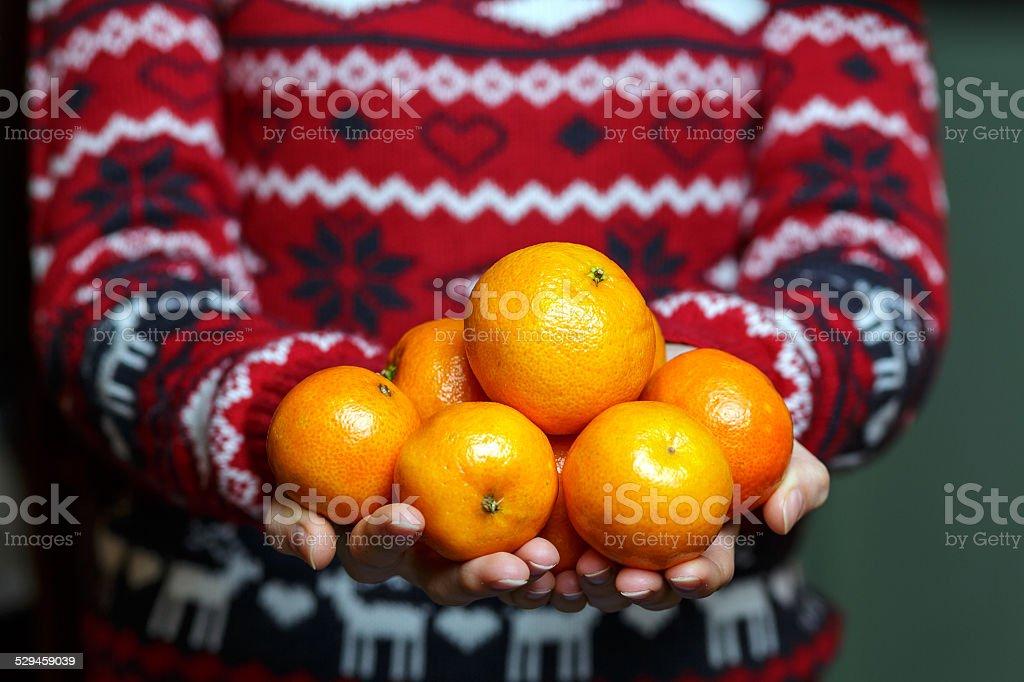 Hands holding fresh fruit stock photo