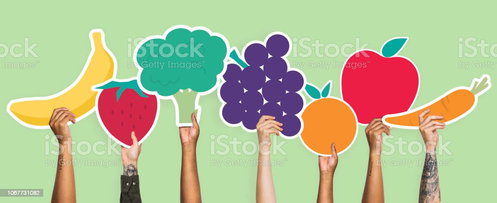 Hands holding fruits and vegetables clipart stock photo