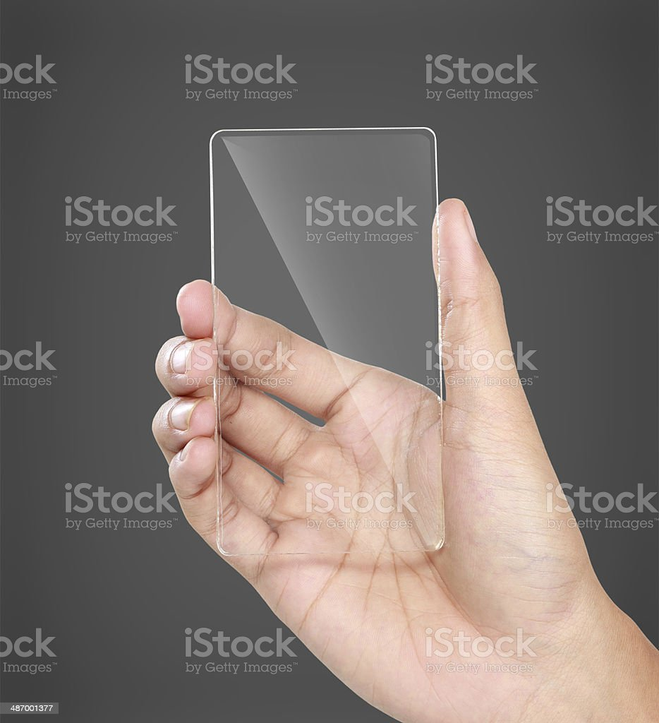 hands holding futuristic transparent mobile phone stock photo