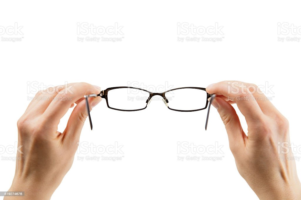 Hands holding Glasses, isolated on a white background, clipping path stock photo