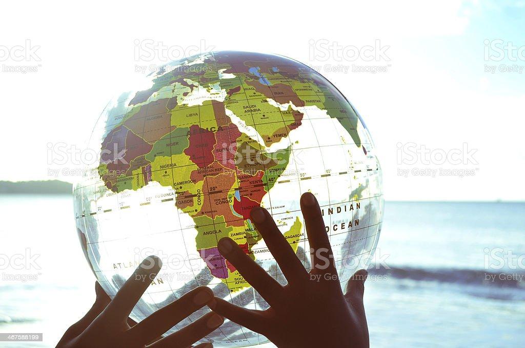 hands holding globe royalty-free stock photo