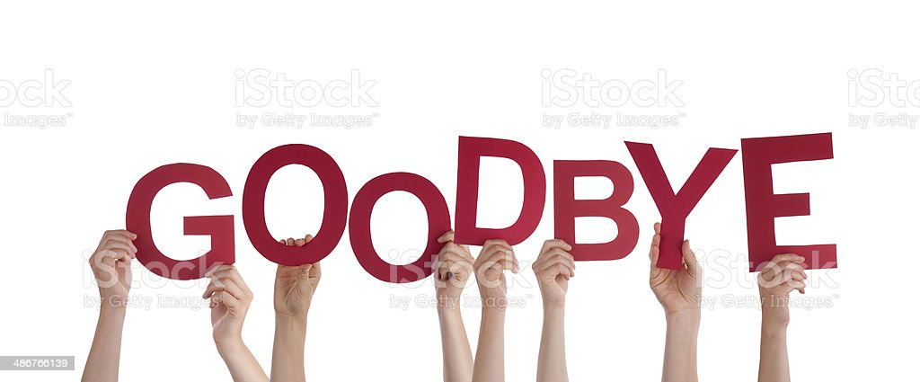 Hands Holding Goodbye stock photo