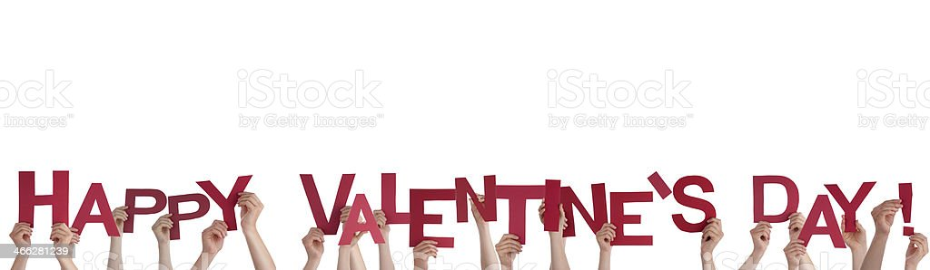 Hands Holding Happy Valentines Day stock photo