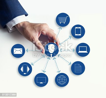 613550706 istock photo Hands holding icon customer network connection, Omni Channel 513312388