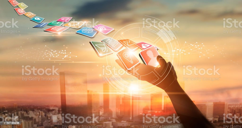 Technology Management Image: Hands Holding Icon Payments Digital Marketing Banking