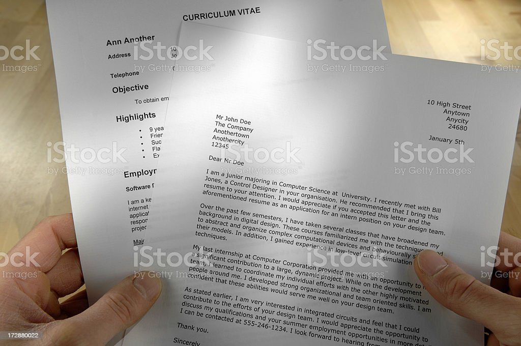 Hands Holding Job Application Letter royalty-free stock photo