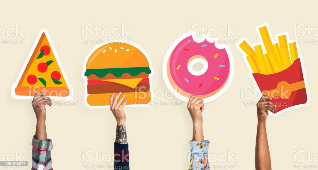 Hands Holding Junk Food Clipart Stock Photo - Download Image Now - iStock