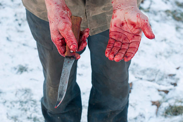 hands holding knife with blood - knife wound stock photos and pictures