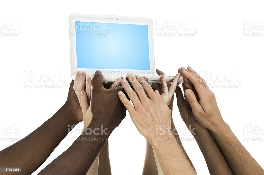 Hands holding laptop computer stock photo