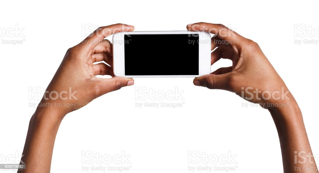 Hands holding mobile smartphone with blank screen stock photo