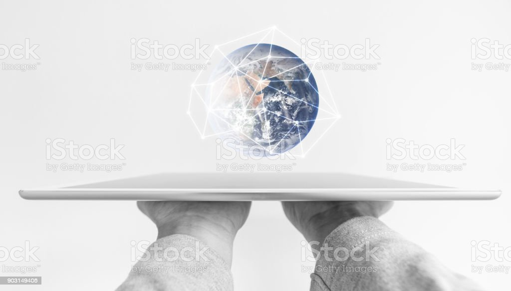 Hands holding modern digital tablet, global network connection and future education technology. Element of this image are furnished by NASA stock photo