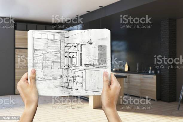 Hands holding notepad with kitchen drawing picture id898615502?b=1&k=6&m=898615502&s=612x612&h=wl2btmgfix0ukb66p4ecjuz7mmxal9awry0bdwg5utg=