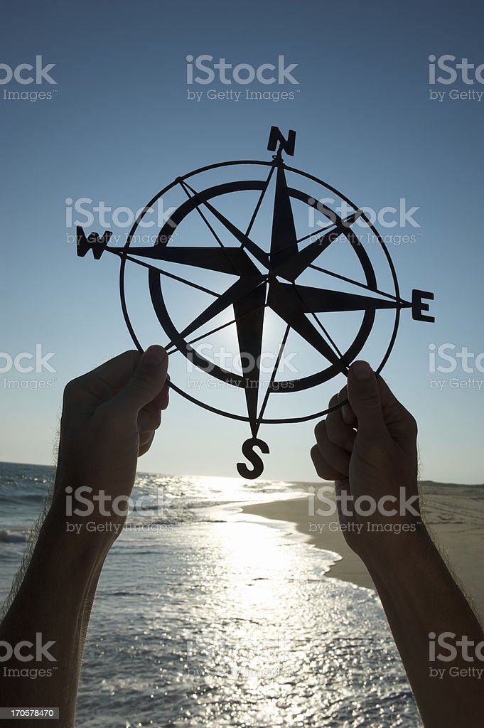 Hands Holding Old-Fashioned Compass Silhouette Beach Outdoors stock photo