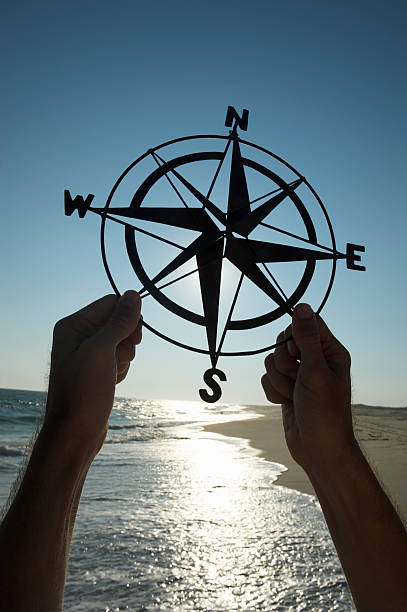 hands holding old-fashioned compass silhouette beach outdoors - north stock photos and pictures