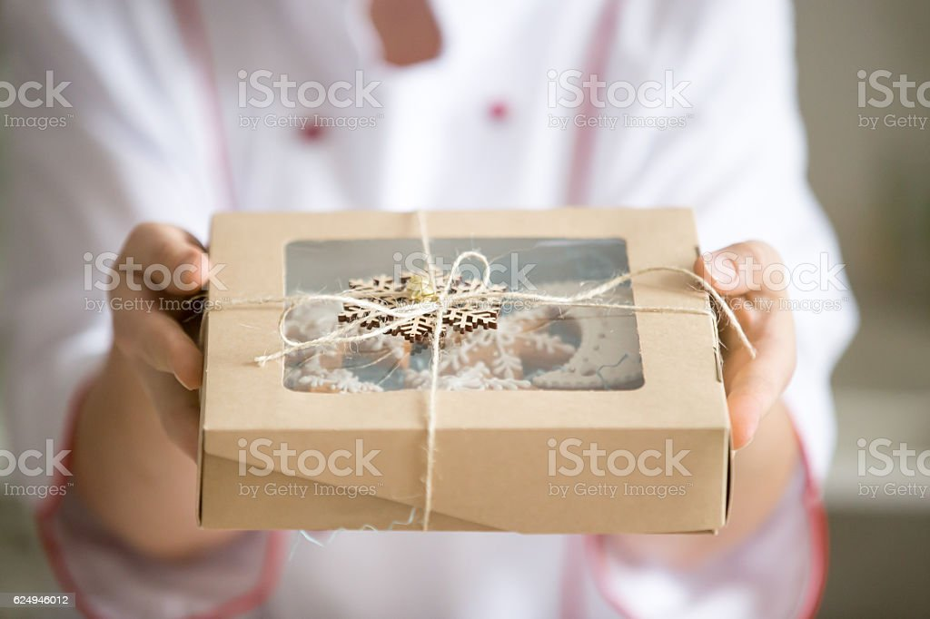 Hands holding out a box with collection of Christmas cookies - Photo