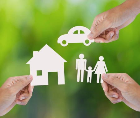 istock Hands holding paper house, car and family 451554125