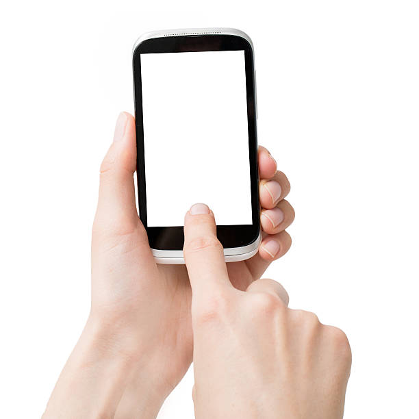 hände halten isoliert smart-telefone - scyther5 stock-fotos und bilder