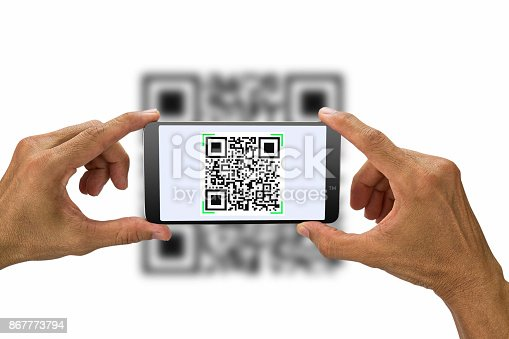 istock Hands holding smartphone scanning QR code on white background, business concept 867773794