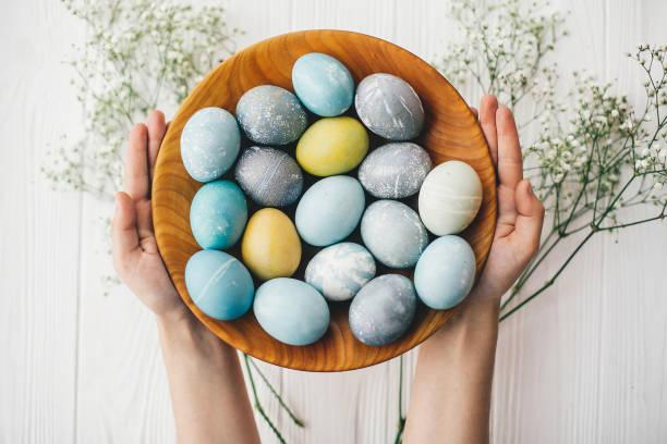 흰색 나무 바탕에 봄 꽃 나무 접시에 세련 된 부활절 달걀을 들고 손. 현대 부활절 달걀, 노랑, 회색, 블루 색상에 자연 염료로 그린. 행복 한 부활절 - 부활절 달걀 뉴스 사진 이미지