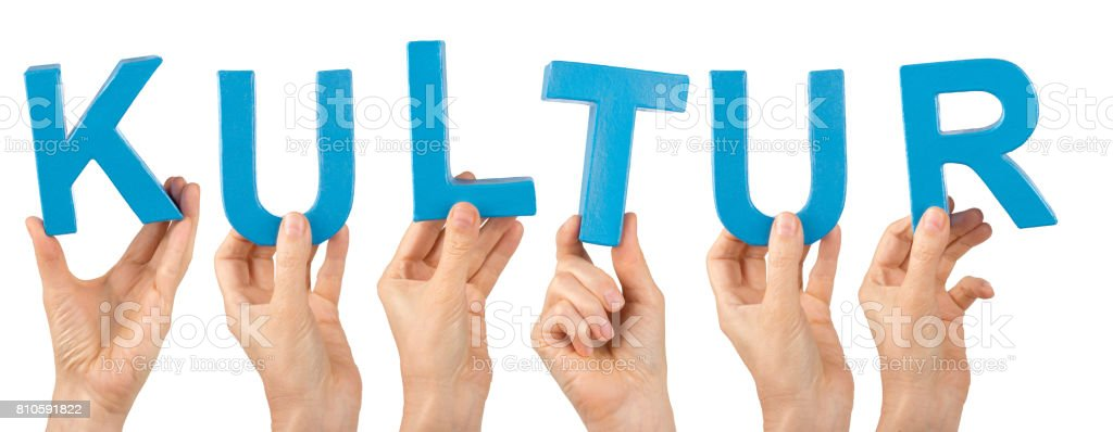 Hands holding the german word - Kultur stock photo