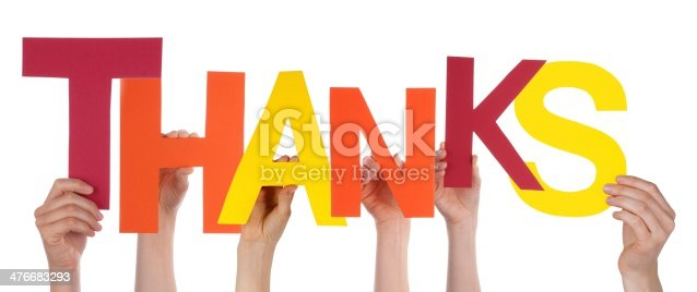 istock Hands Holding the Letters Thanks 476683293
