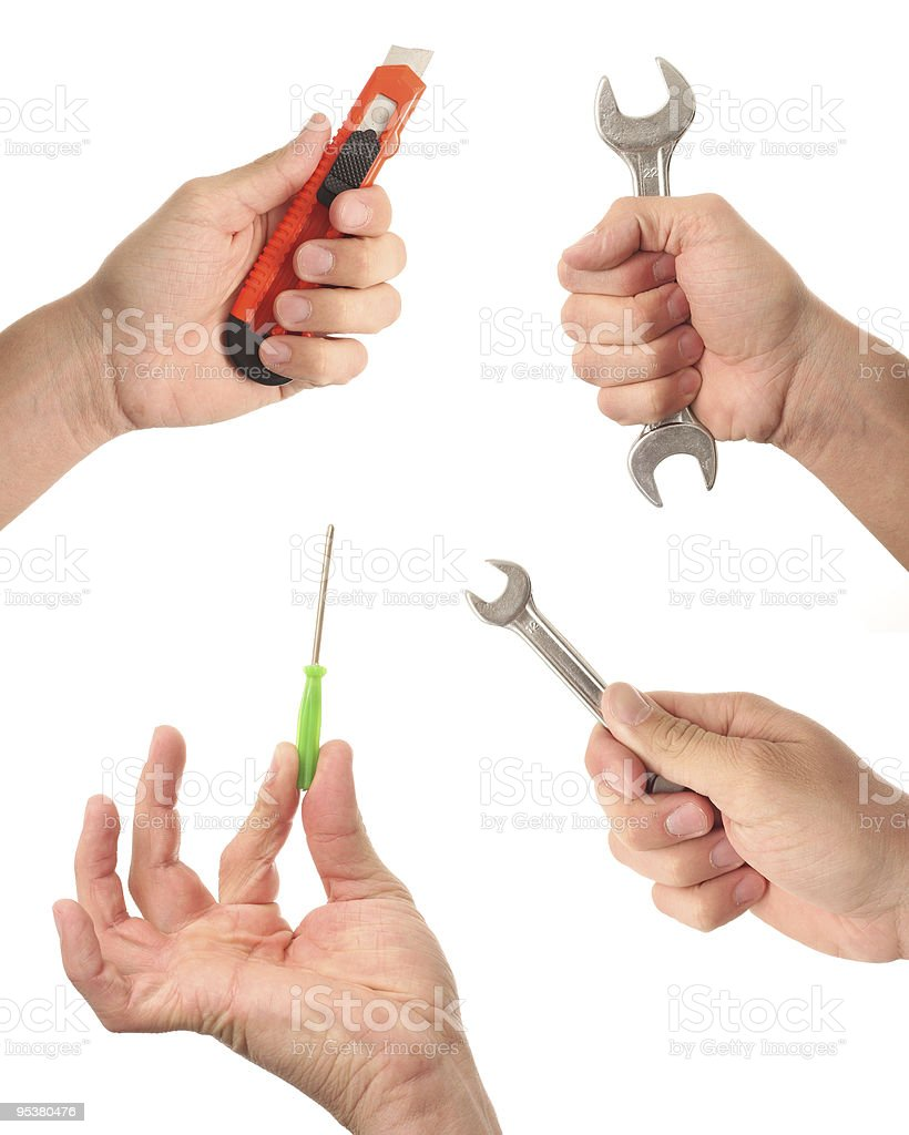 Hands holding tools isolated on white background royalty-free stock photo