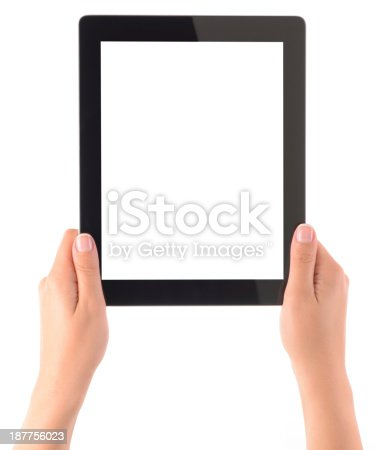 928855610istockphoto Hands holding white screen tablet pc 187756023