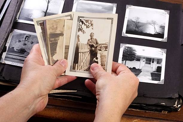 Hands Holing Vintage Memories stock photo