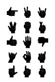 Hands Icons  Black