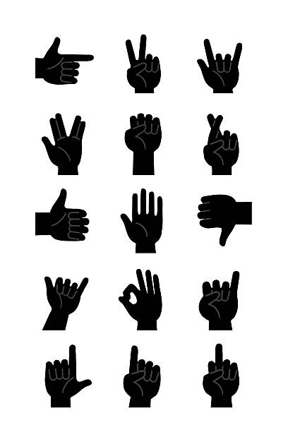 hands icons  black - clip art stock photos and pictures
