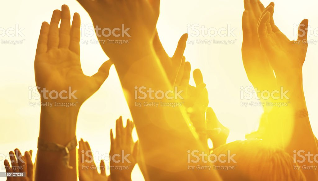 hands in a music concert royalty-free stock photo