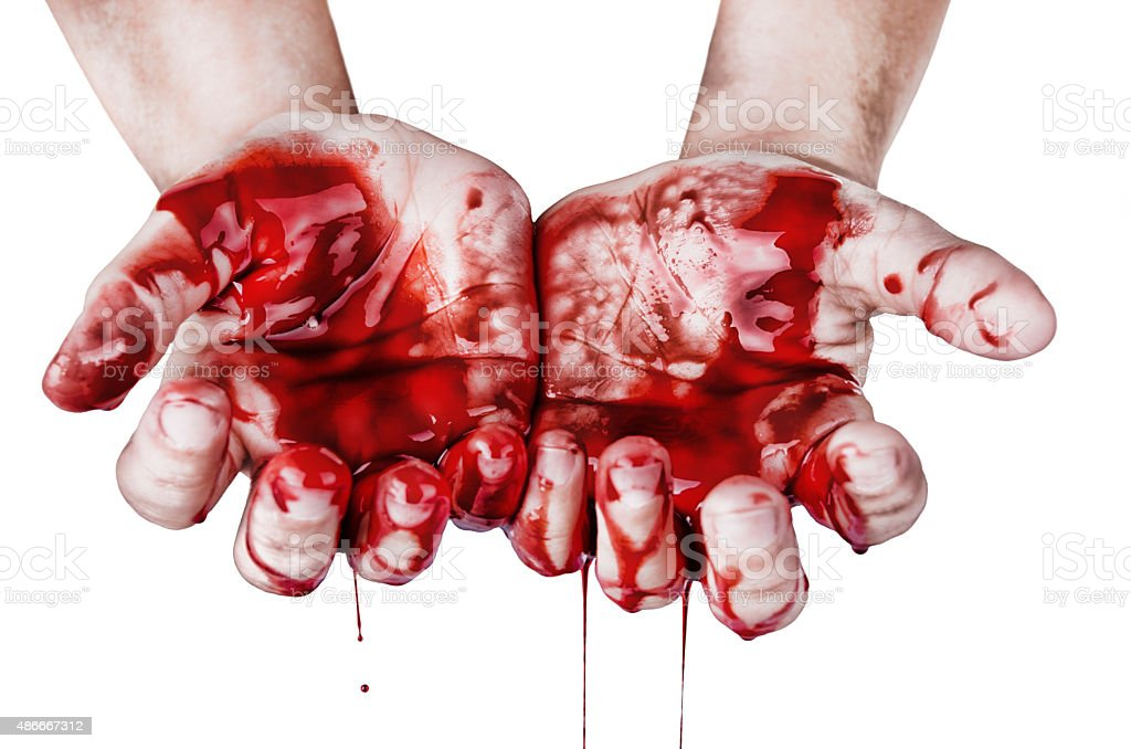 Hands in blood stock photo