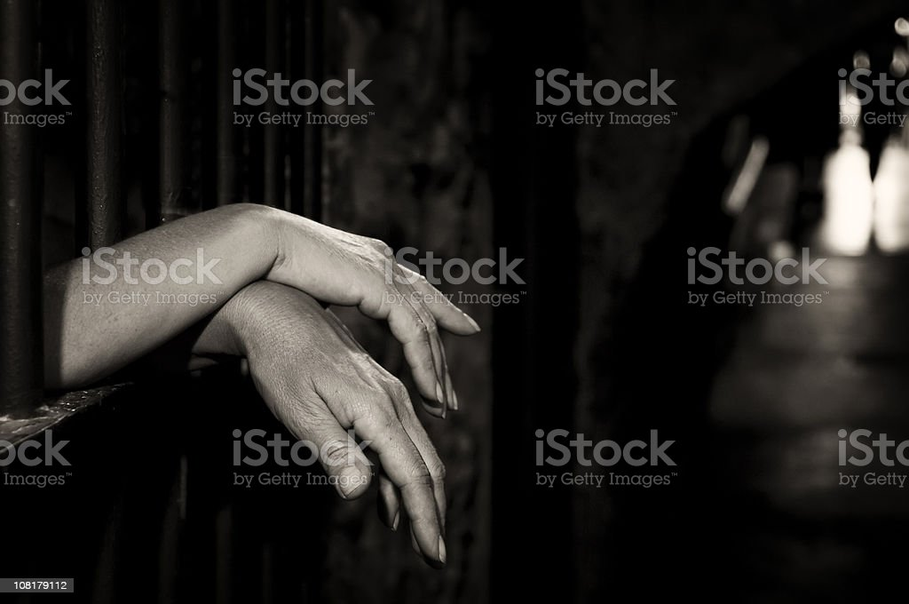 Hands in cage royalty-free stock photo