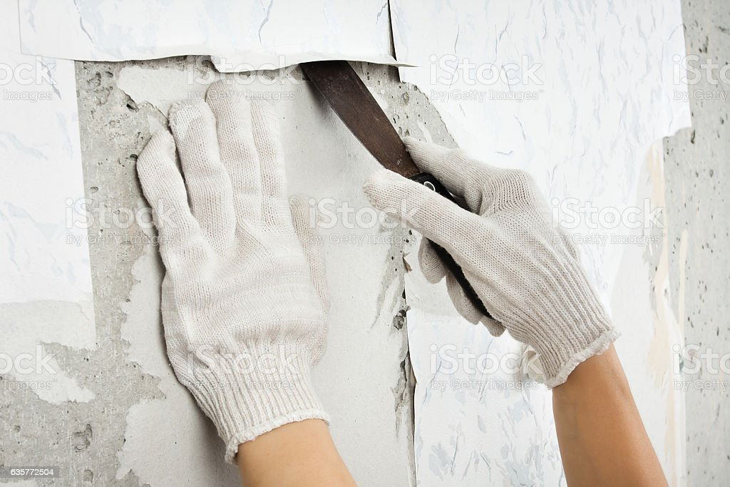 Hands In Gloves Removing Old Wallpaper With Spatula Royalty Free Stock Photo