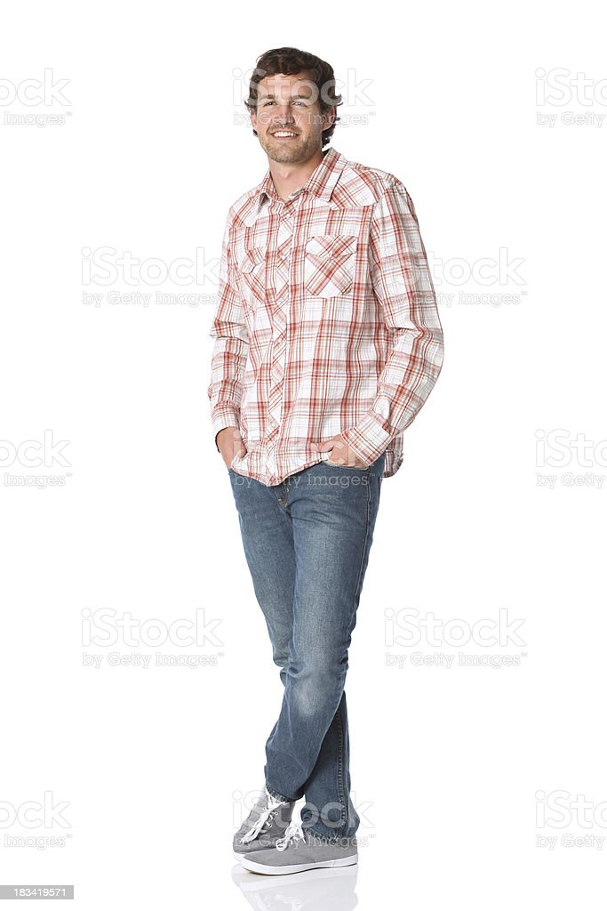 Hands in pockets casual man stock photo