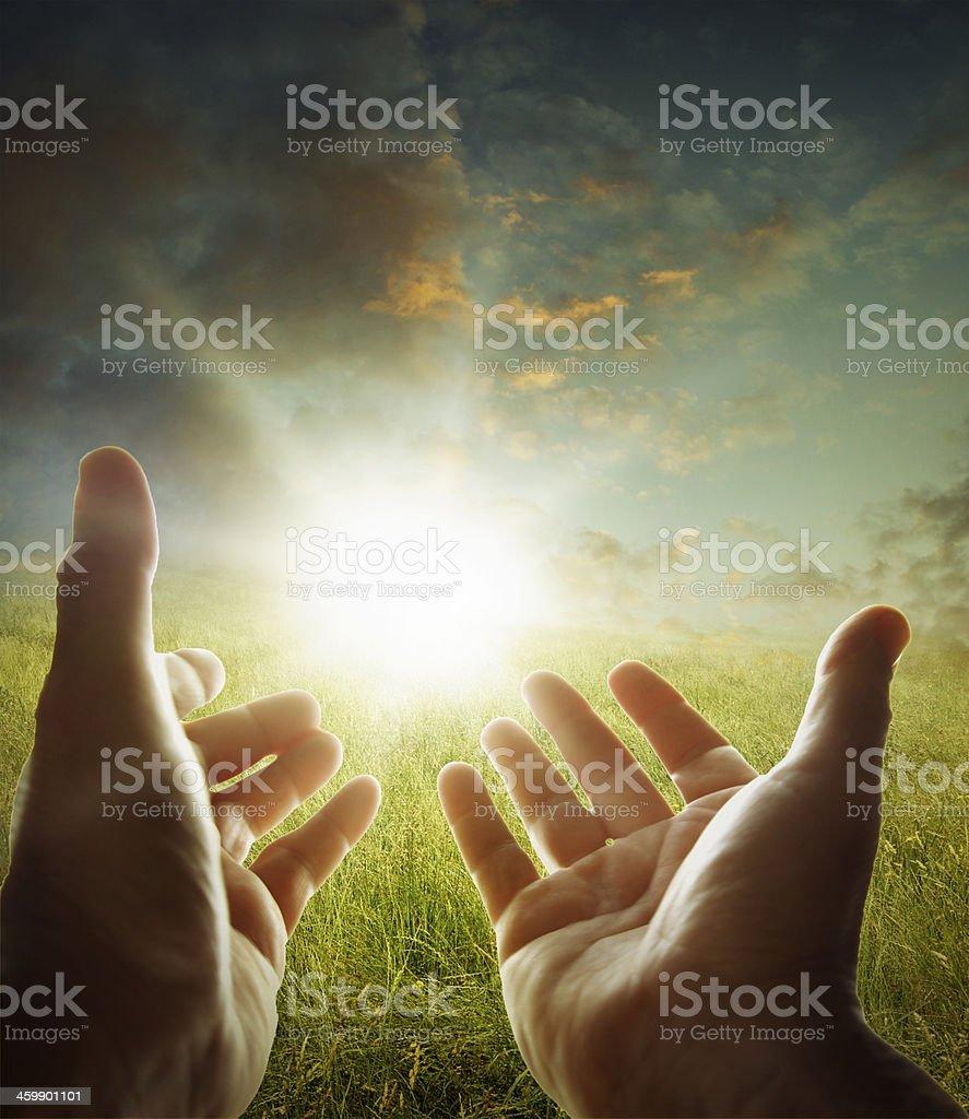 Hands in sky stock photo