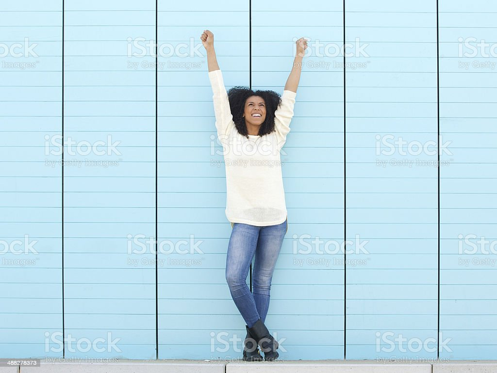 Hands in the air stock photo