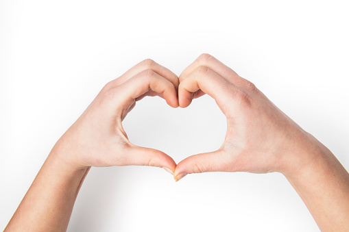 hands Shape of a Heart on white background