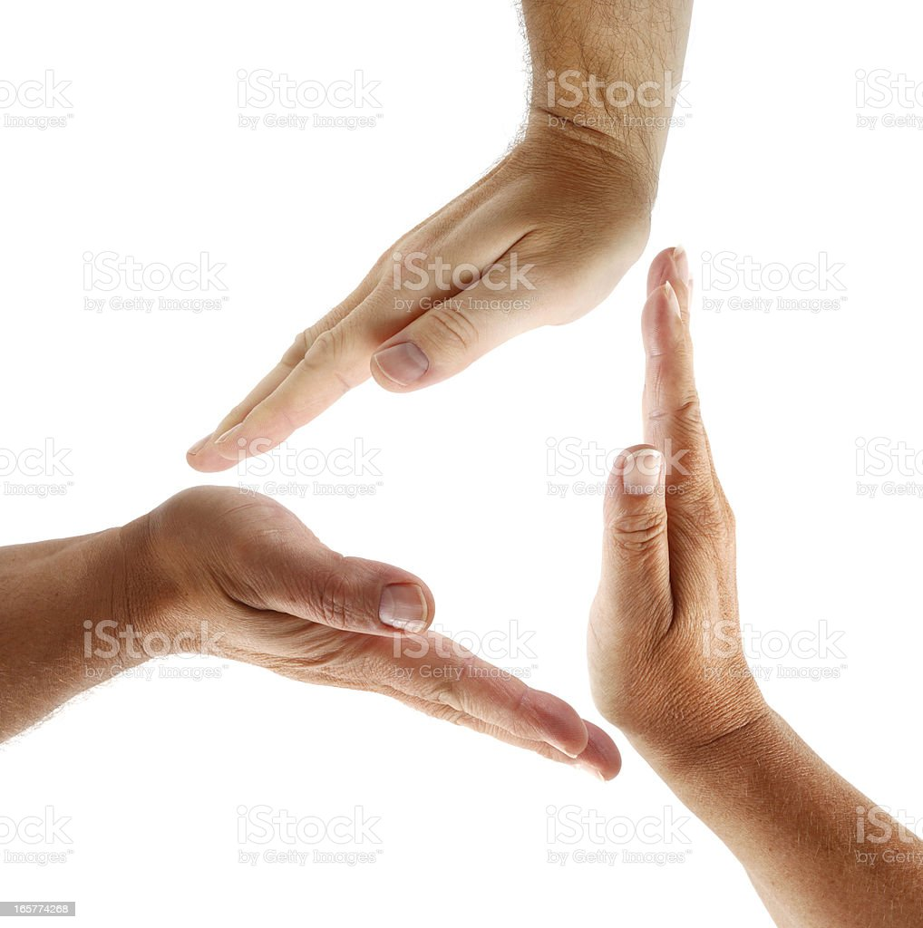 Hands in Triangle Shape stock photo