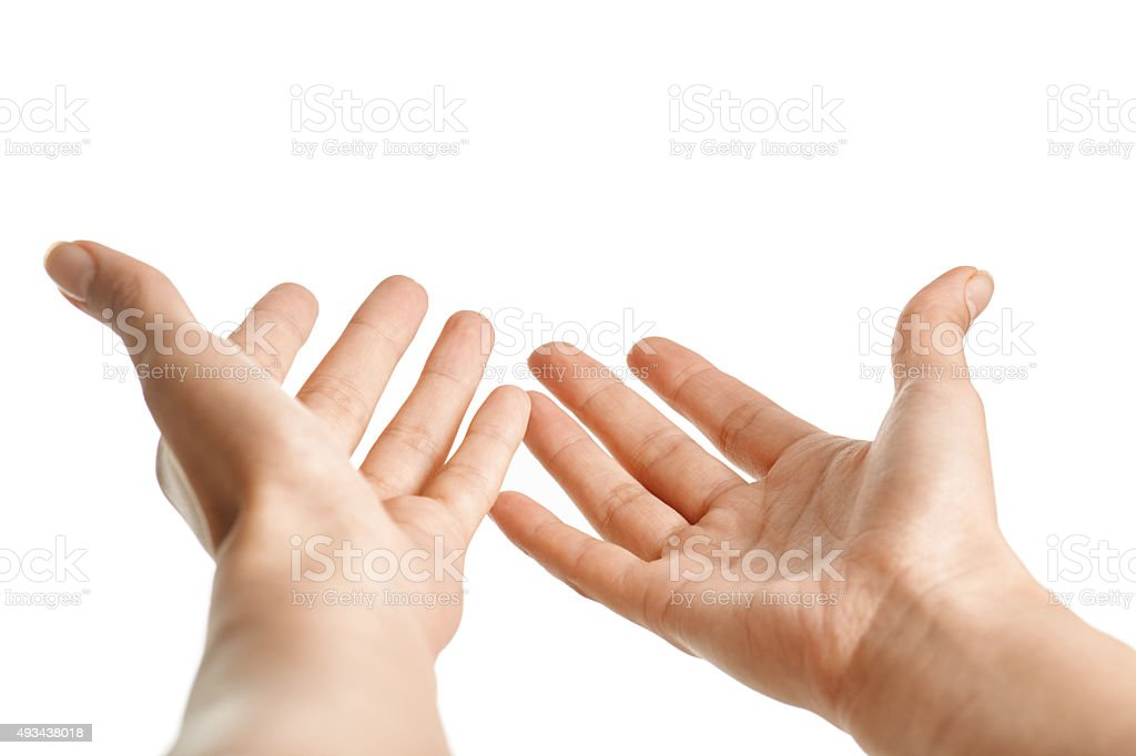 Hands isolated on white stock photo